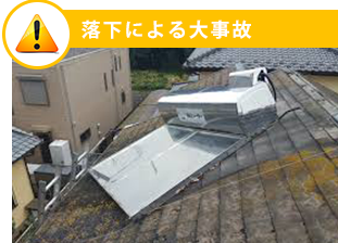 機器を放置することにより、落下による重大事故の危険